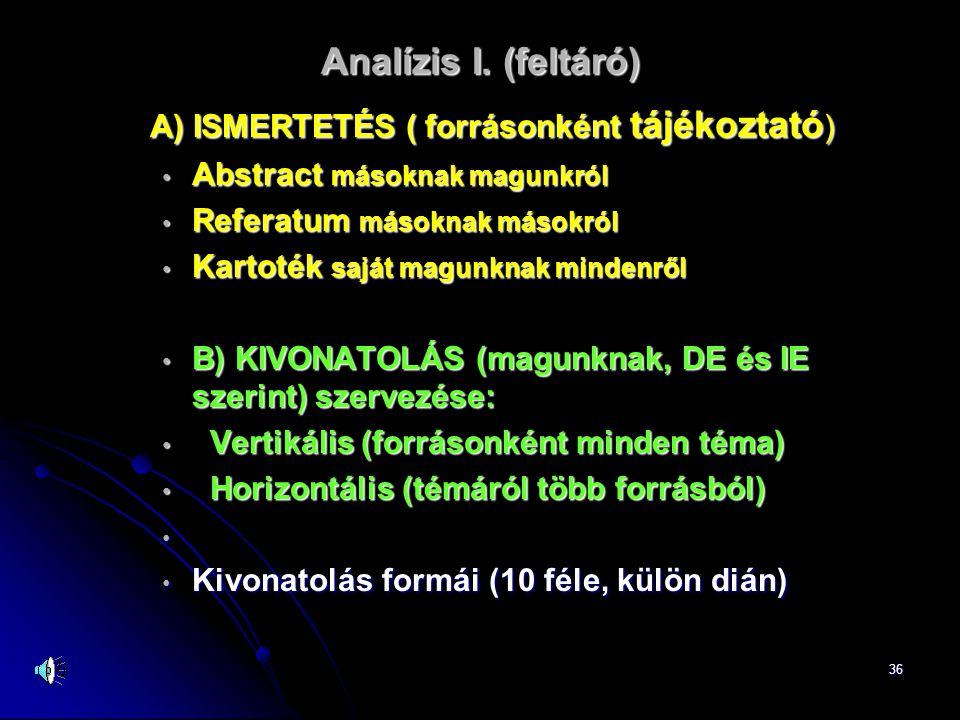 Analízis I. (feltáró) A) ISMERTETÉS ( forrásonként tájékoztató)