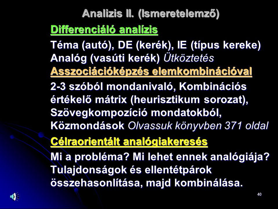 Analizis II. (Ismeretelemző)