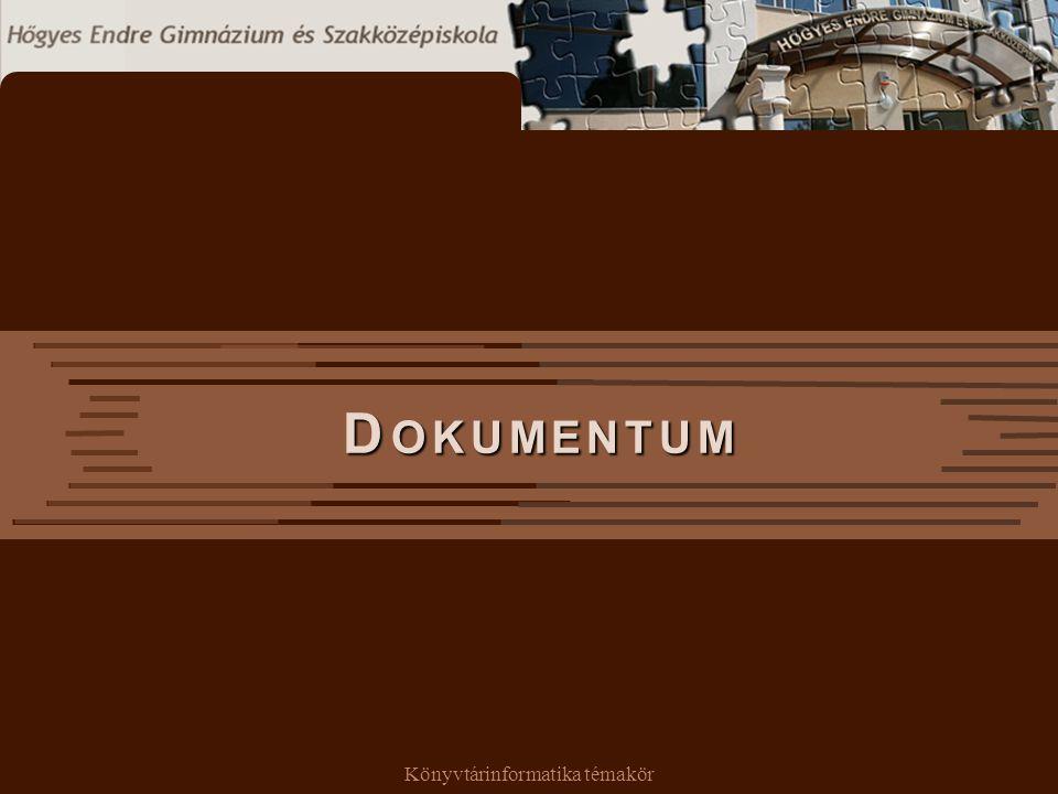 Könyvtárinformatika témakör