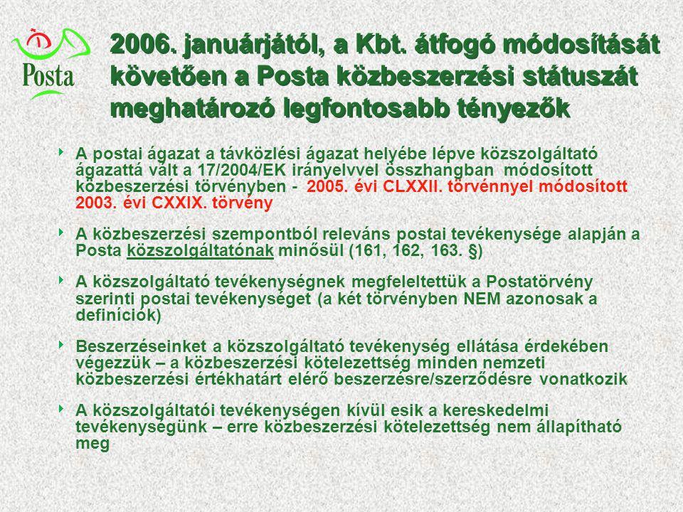 2006. januárjától, a Kbt. átfogó módosítását követően a Posta közbeszerzési státuszát meghatározó legfontosabb tényezők