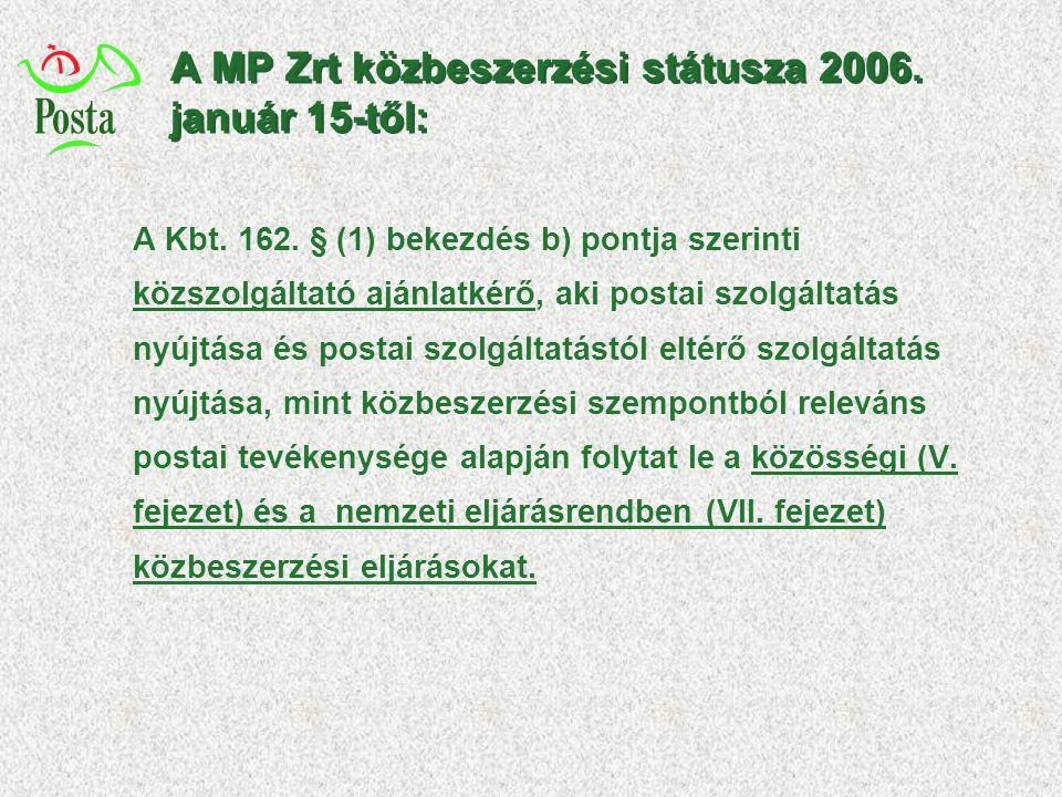 A MP Zrt közbeszerzési státusza 2006. január 15-től: