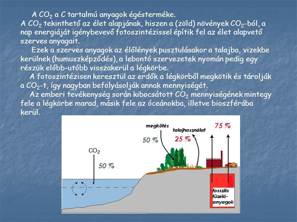 A CO2 a C tartalmú anyagok égésterméke.