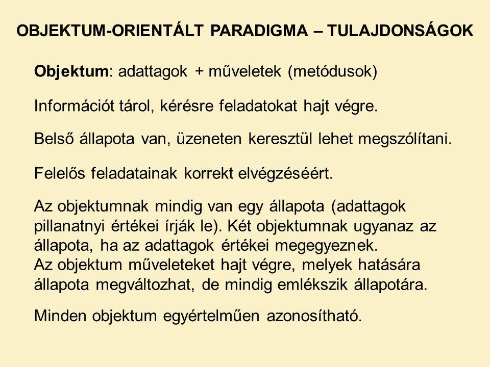 OBJEKTUM-ORIENTÁLT PARADIGMA – TULAJDONSÁGOK
