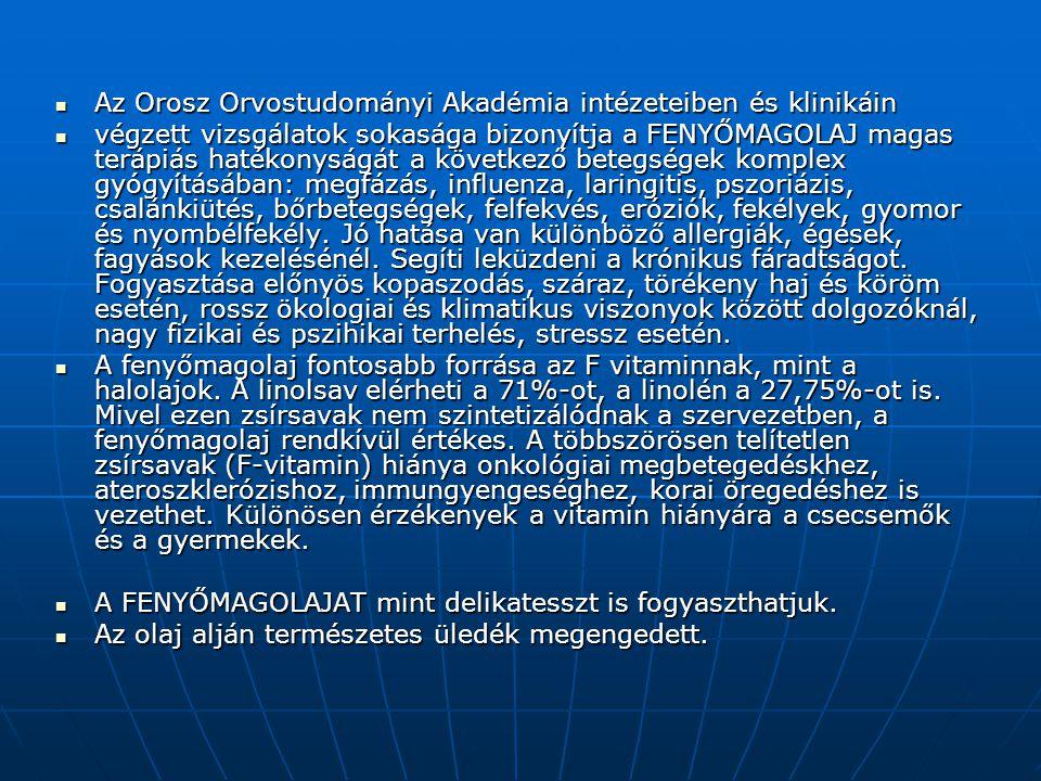 Az Orosz Orvostudományi Akadémia intézeteiben és klinikáin