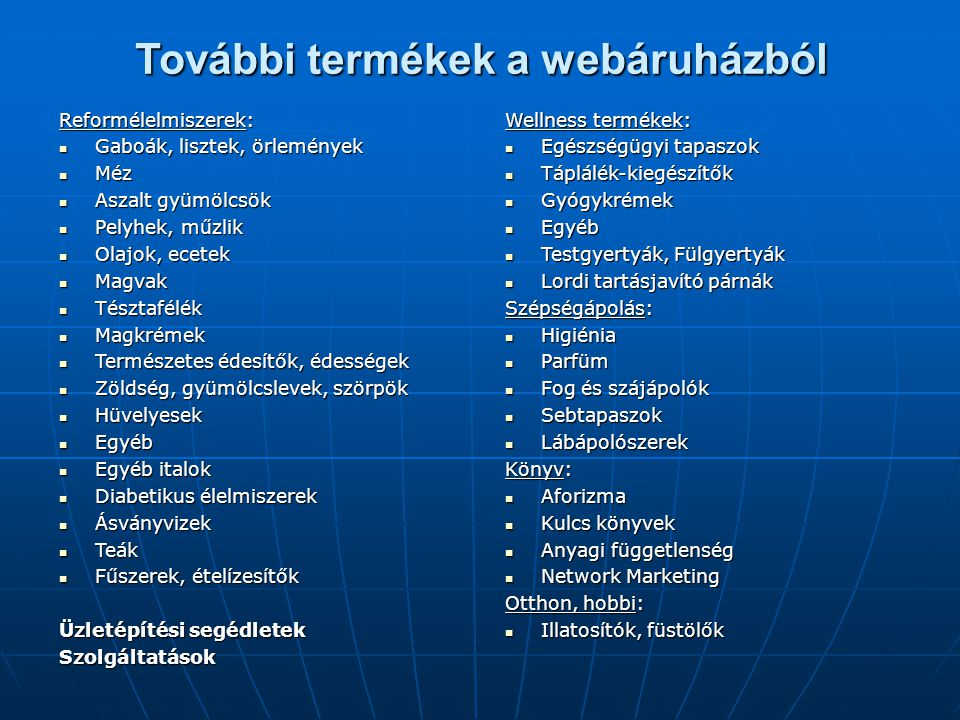 További termékek a webáruházból