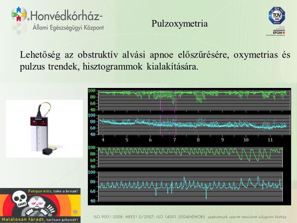 Pulzoxymetria Lehetőség az obstruktív alvási apnoe előszűrésére, oxymetrias és pulzus trendek, hisztogrammok kialakítására.