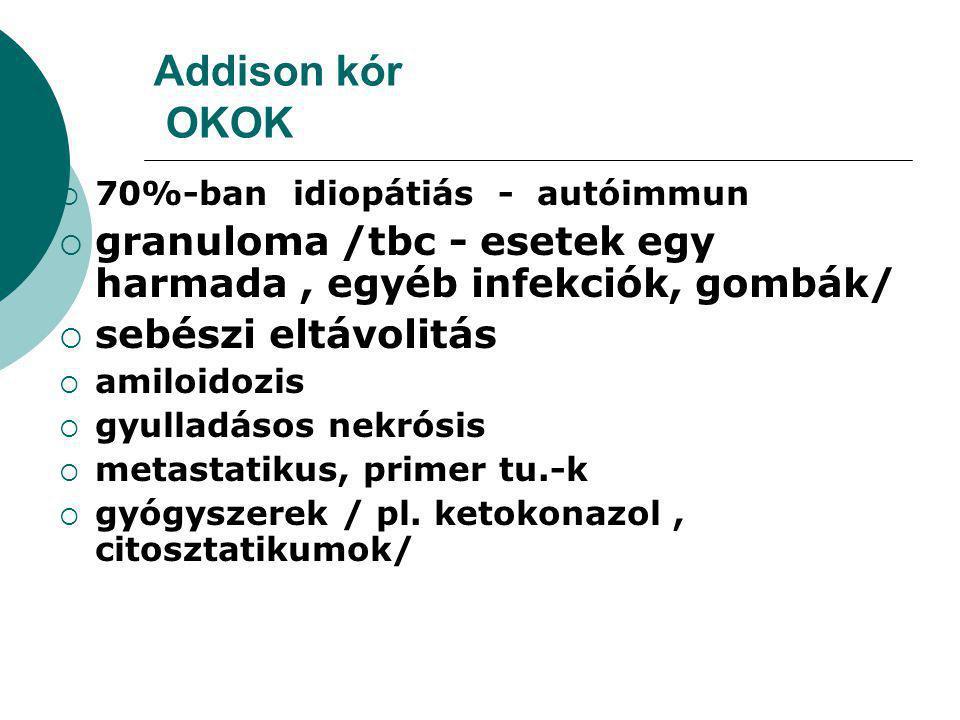 Addison kór OKOK 70%-ban idiopátiás - autóimmun. granuloma /tbc - esetek egy harmada , egyéb infekciók, gombák/