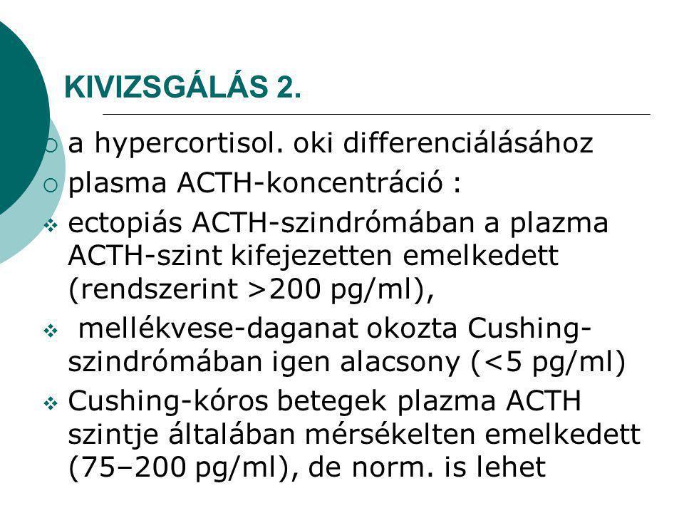 KIVIZSGÁLÁS 2. a hypercortisol. oki differenciálásához