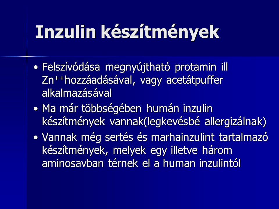 Inzulin készítmények Felszívódása megnyújtható protamin ill Zn++hozzáadásával, vagy acetátpuffer alkalmazásával.