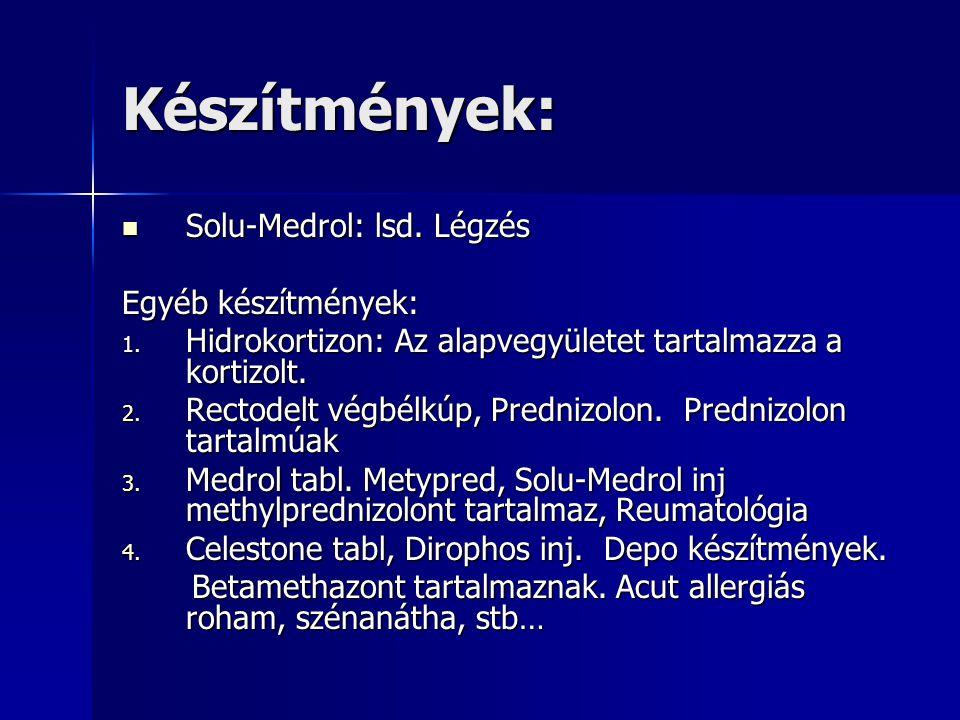 Készítmények: Solu-Medrol: lsd. Légzés Egyéb készítmények: