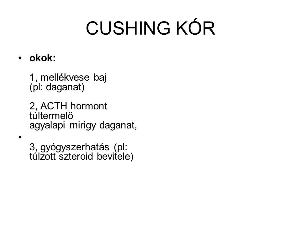 CUSHING KÓR okok: 1, mellékvese baj (pl: daganat) 2, ACTH hormont túltermelő agyalapi mirigy daganat,