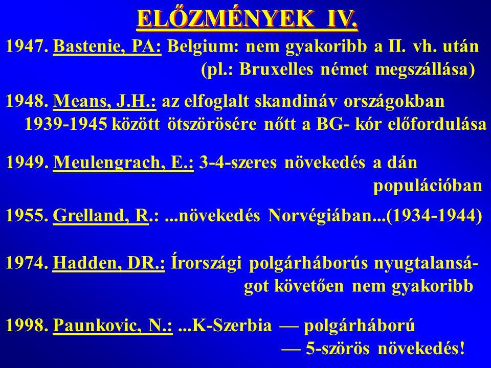 ELŐZMÉNYEK IV. 1947. Bastenie, PA: Belgium: nem gyakoribb a II. vh. után. (pl.: Bruxelles német megszállása)
