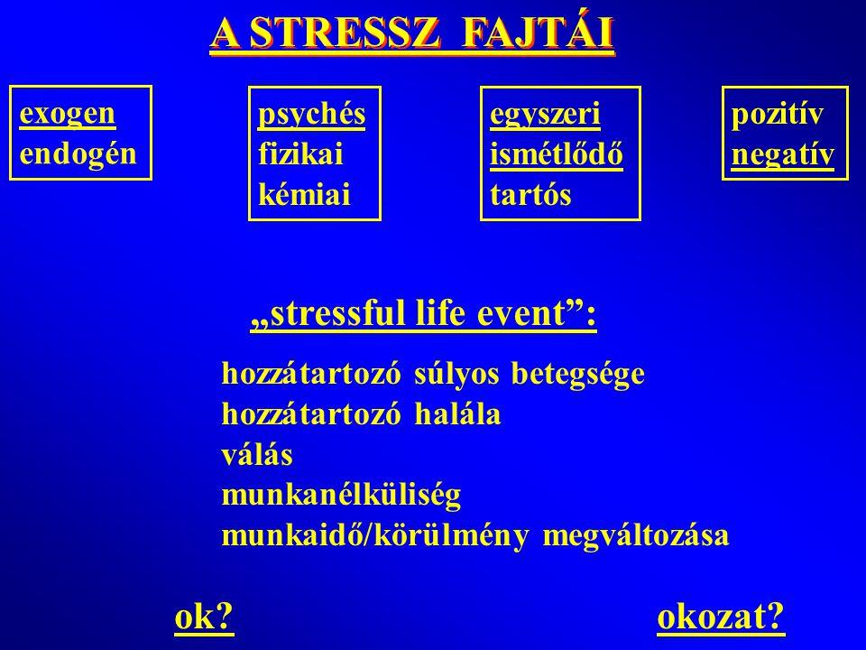 """A STRESSZ FAJTÁI """"stressful life event : ok okozat exogen endogén"""