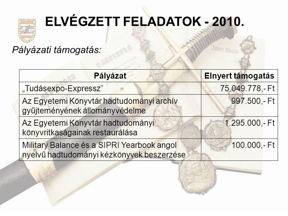 ELVÉGZETT FELADATOK - 2010. Pályázati támogatás: Pályázat