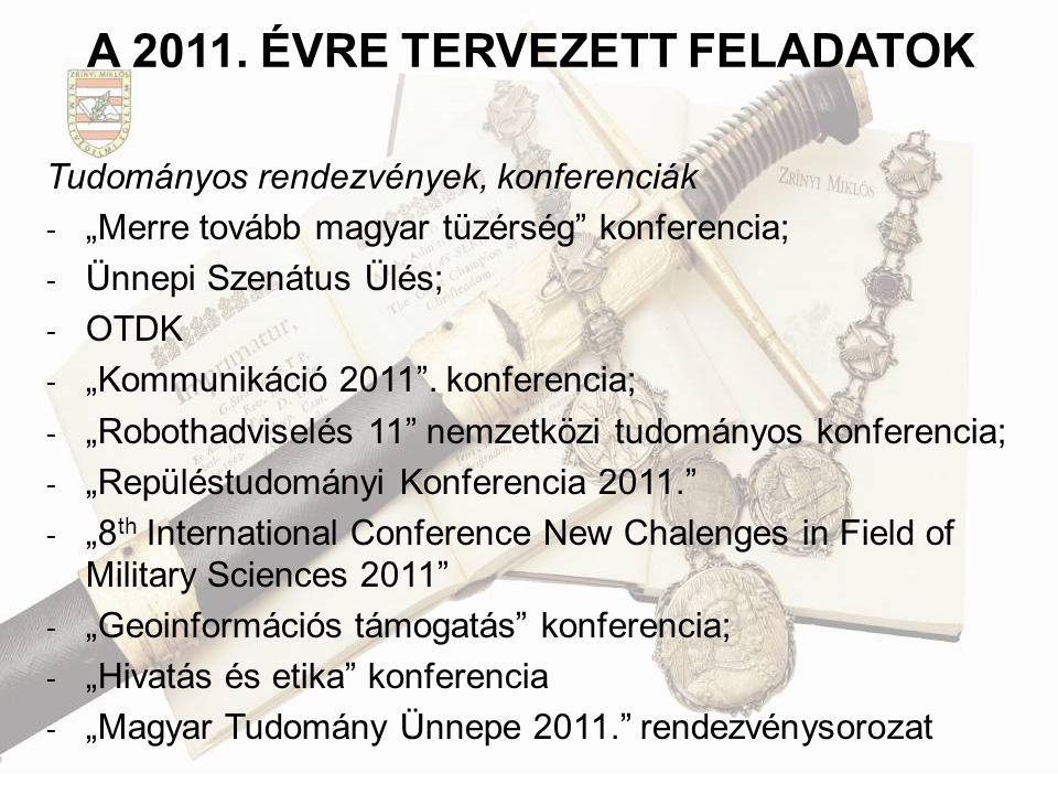 A 2011. ÉVRE TERVEZETT FELADATOK