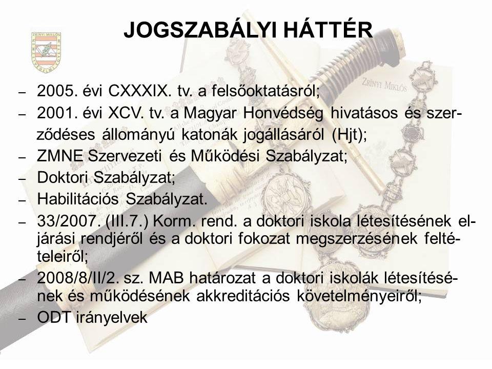 JOGSZABÁLYI HÁTTÉR 2005. évi CXXXIX. tv. a felsőoktatásról;