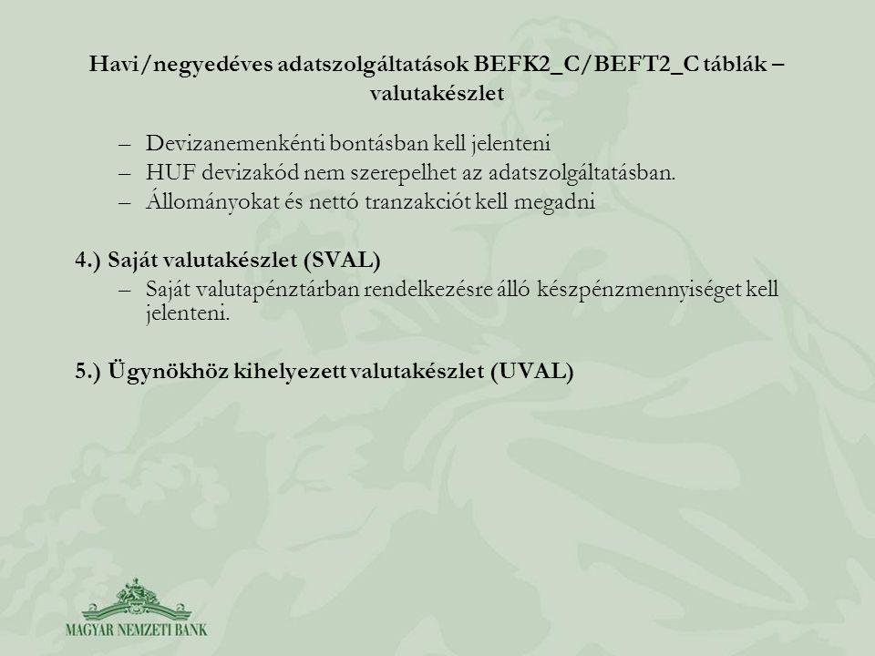 Havi/negyedéves adatszolgáltatások BEFK2_C/BEFT2_C táblák – valutakészlet
