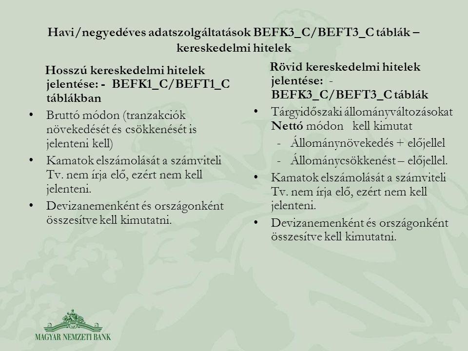 Havi/negyedéves adatszolgáltatások BEFK3_C/BEFT3_C táblák – kereskedelmi hitelek