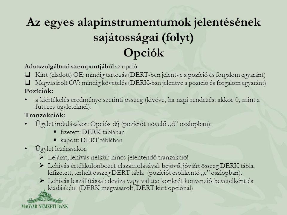 Az egyes alapinstrumentumok jelentésének sajátosságai (folyt) Opciók