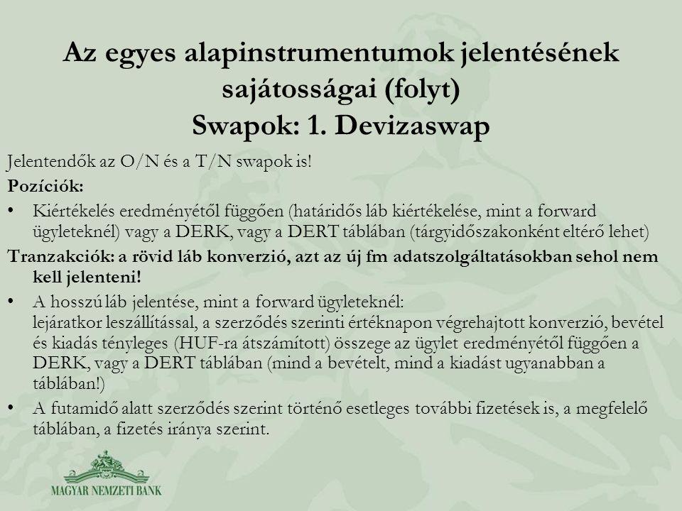Az egyes alapinstrumentumok jelentésének sajátosságai (folyt) Swapok: 1. Devizaswap