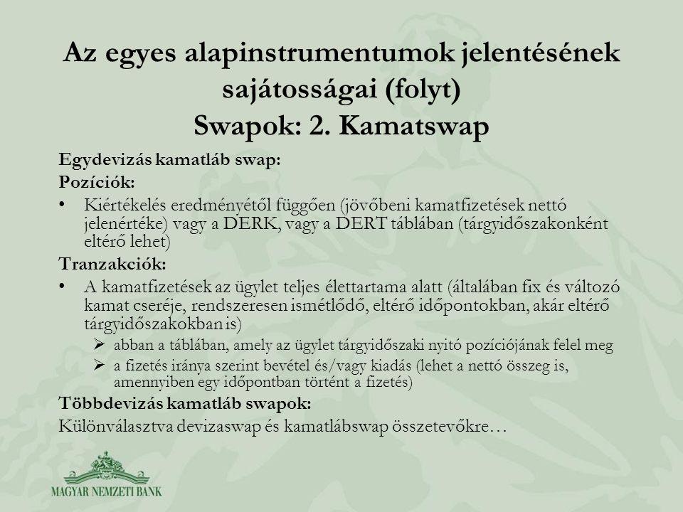 Az egyes alapinstrumentumok jelentésének sajátosságai (folyt) Swapok: 2. Kamatswap