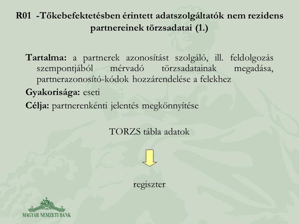 Célja: partnerenkénti jelentés megkönnyítése TORZS tábla adatok