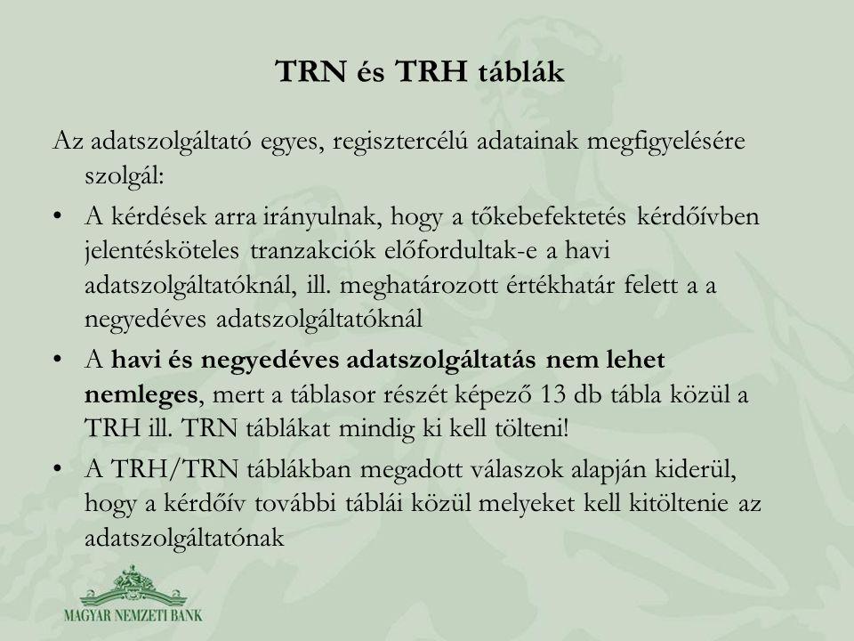 TRN és TRH táblák Az adatszolgáltató egyes, regisztercélú adatainak megfigyelésére szolgál: