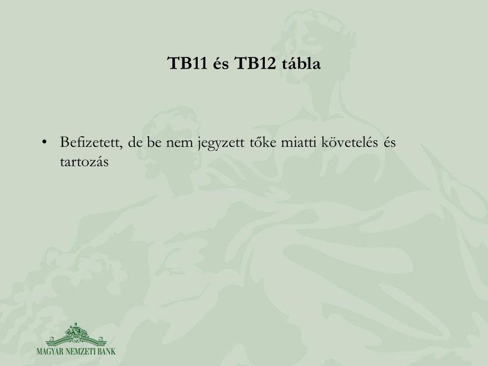 TB11 és TB12 tábla Befizetett, de be nem jegyzett tőke miatti követelés és tartozás