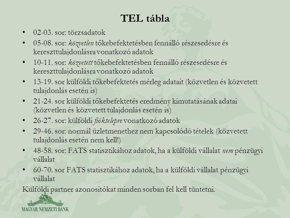 TEL tábla 02-03. sor: törzsadatok