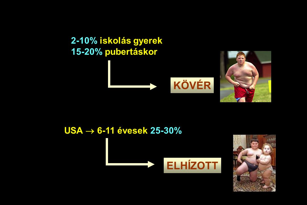 KÖVÉR ELHÍZOTT 2-10% iskolás gyerek 15-20% pubertáskor