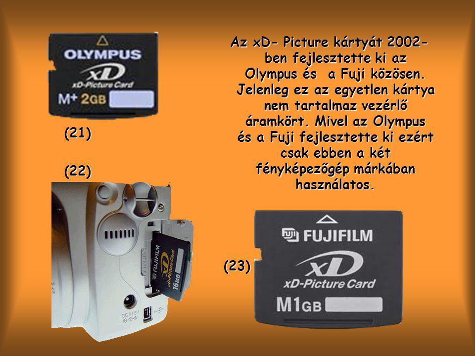 Az xD- Picture kártyát 2002-ben fejlesztette ki az Olympus és a Fuji közösen. Jelenleg ez az egyetlen kártya nem tartalmaz vezérlő áramkört. Mivel az Olympus és a Fuji fejlesztette ki ezért csak ebben a két fényképezőgép márkában használatos.