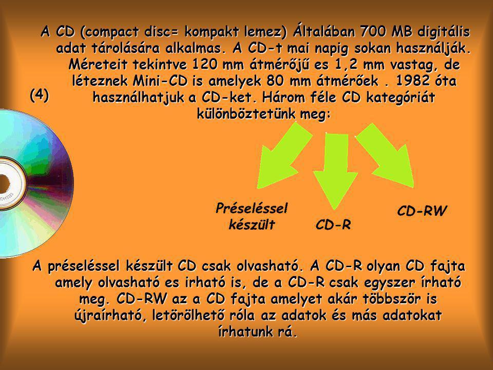 A CD (compact disc= kompakt lemez) Általában 700 MB digitális adat tárolására alkalmas. A CD-t mai napig sokan használják. Méreteit tekintve 120 mm átmérőjű es 1,2 mm vastag, de léteznek Mini-CD is amelyek 80 mm átmérőek . 1982 óta használhatjuk a CD-ket. Három féle CD kategóriát különböztetünk meg: