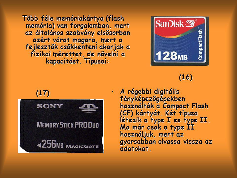 Több féle memóriakártya (flash memória) van forgalomban, mert az általános szabvány elsősorban azért várat magara, mert a fejlesztők csökkenteni akarjak a fizikai mérettet, de növelni a kapacitást. Típusai: