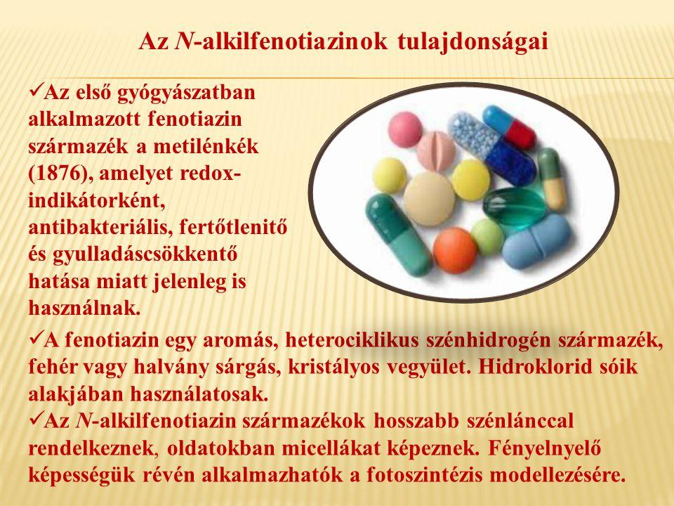 Az N-alkilfenotiazinok tulajdonságai