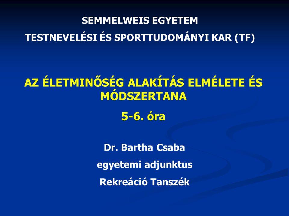 AZ ÉLETMINŐSÉG ALAKÍTÁS ELMÉLETE ÉS MÓDSZERTANA 5-6. óra