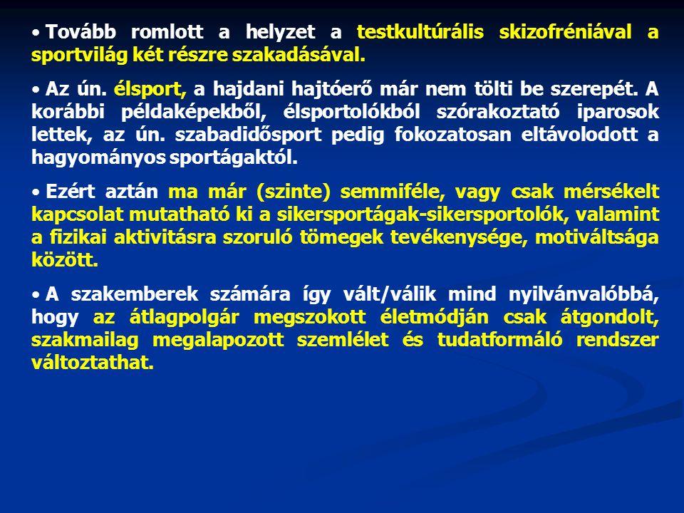 Tovább romlott a helyzet a testkultúrális skizofréniával a sportvilág két részre szakadásával.