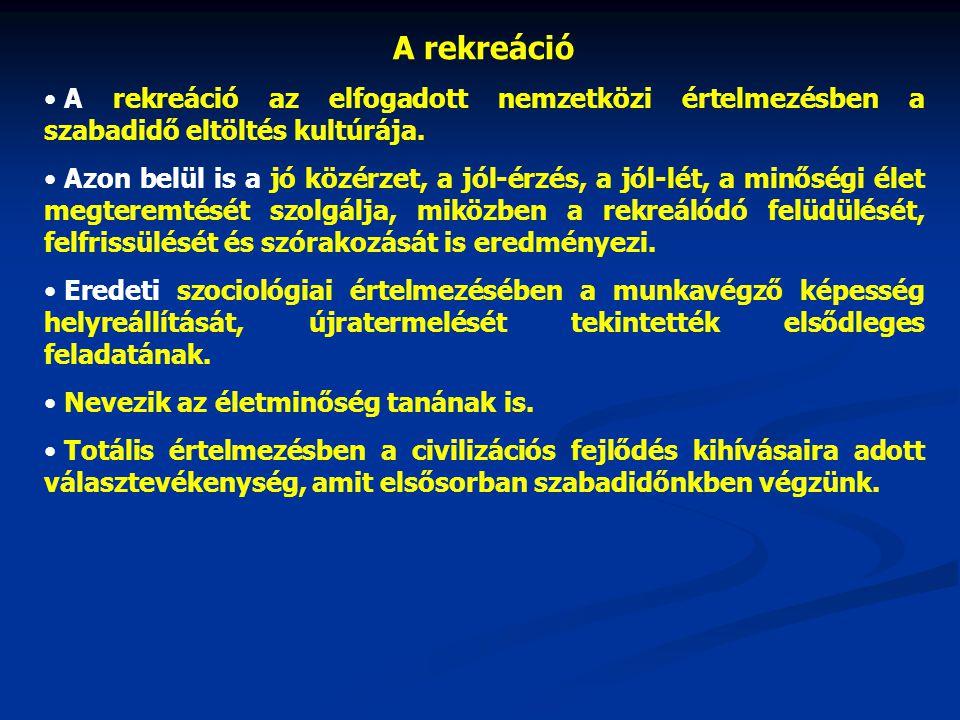 A rekreáció A rekreáció az elfogadott nemzetközi értelmezésben a szabadidő eltöltés kultúrája.