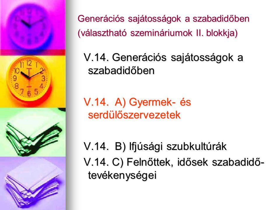 V.14. Generációs sajátosságok a szabadidőben