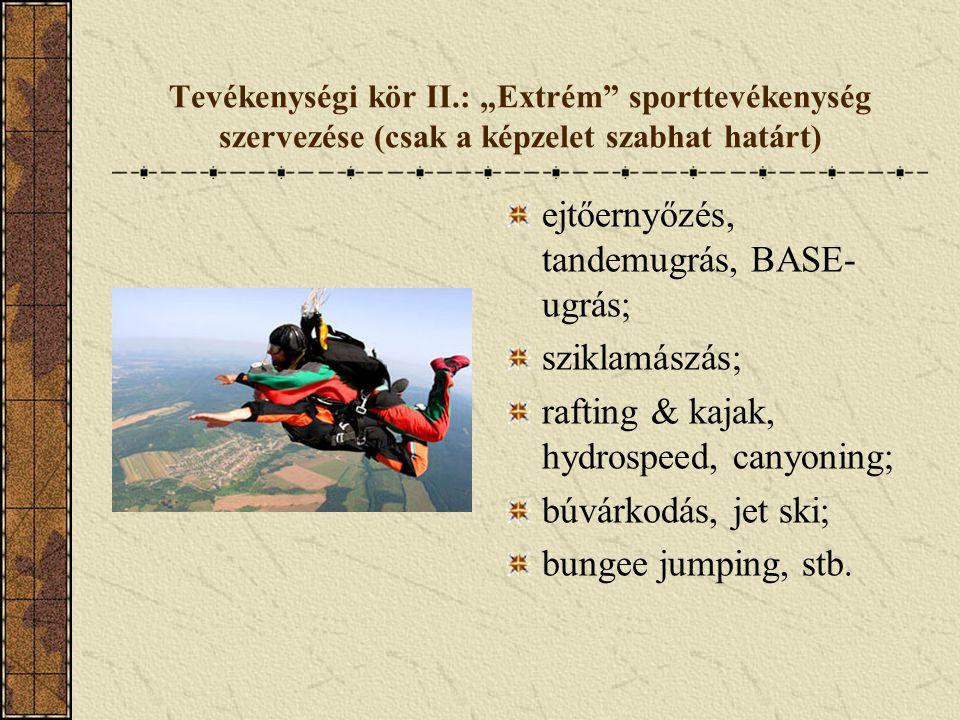 ejtőernyőzés, tandemugrás, BASE-ugrás;