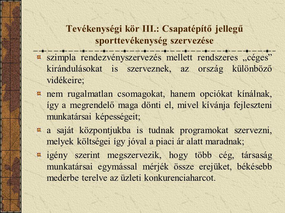 Tevékenységi kör III.: Csapatépítő jellegű sporttevékenység szervezése