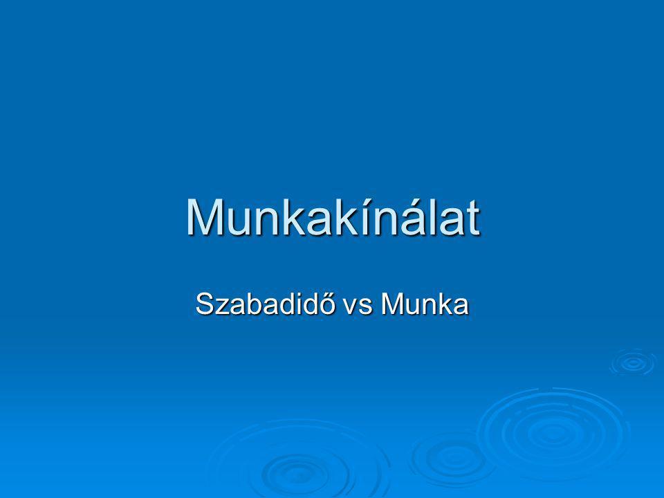 Munkakínálat Szabadidő vs Munka