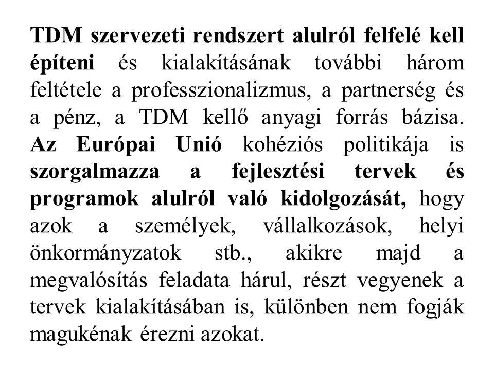 TDM szervezeti rendszert alulról felfelé kell építeni és kialakításának további három feltétele a professzionalizmus, a partnerség és a pénz, a TDM kellő anyagi forrás bázisa.
