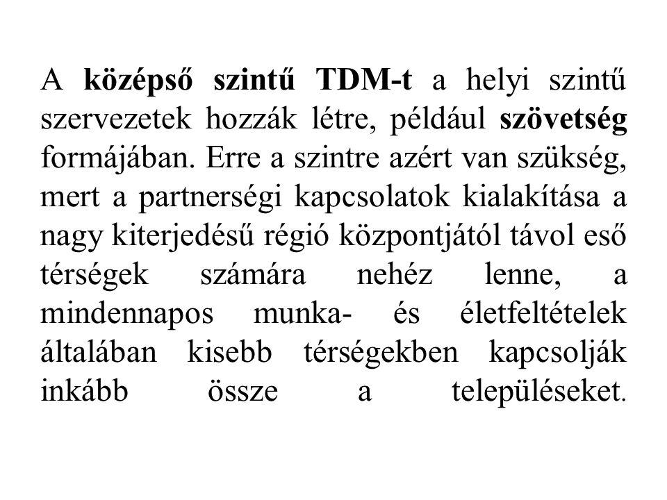 A középső szintű TDM-t a helyi szintű szervezetek hozzák létre, például szövetség formájában.
