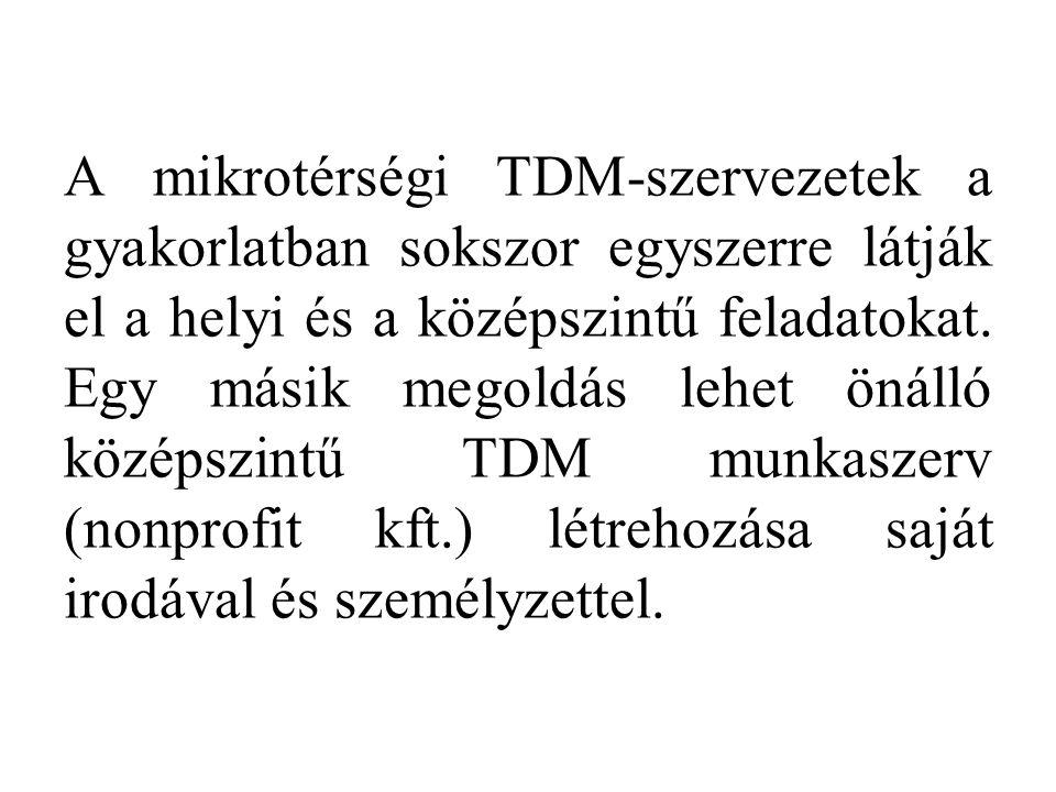 A mikrotérségi TDM-szervezetek a gyakorlatban sokszor egyszerre látják el a helyi és a középszintű feladatokat.