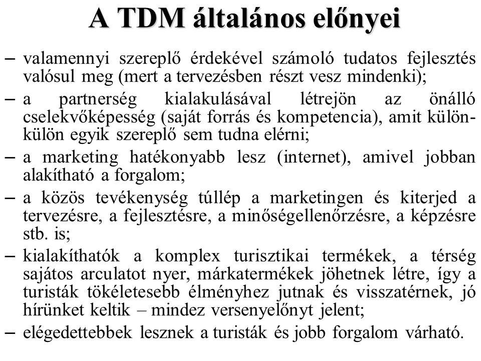 A TDM általános előnyei