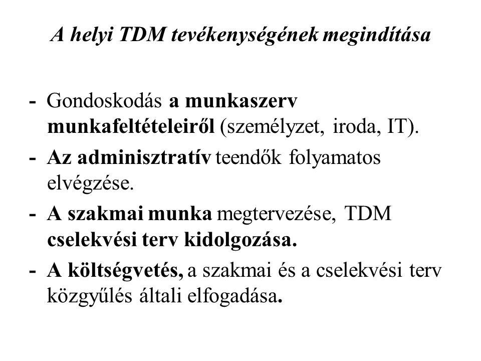 A helyi TDM tevékenységének megindítása