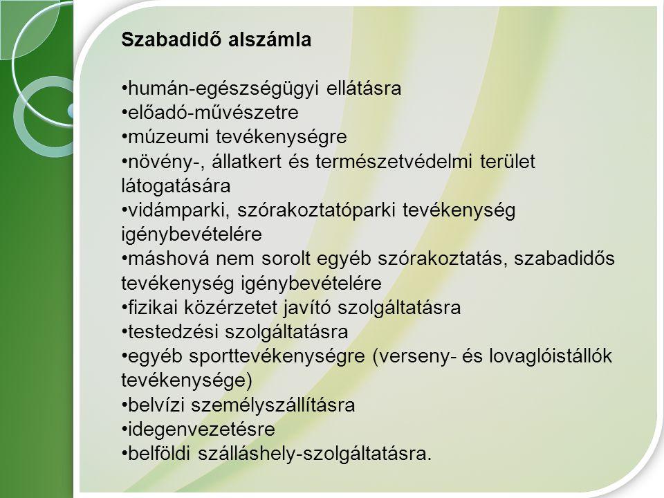 Szabadidő alszámla humán-egészségügyi ellátásra. előadó-művészetre. múzeumi tevékenységre.