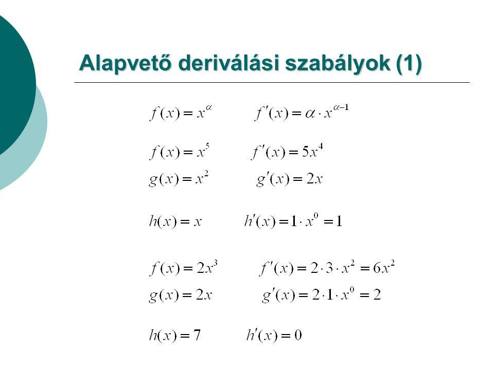 Alapvető deriválási szabályok (1)