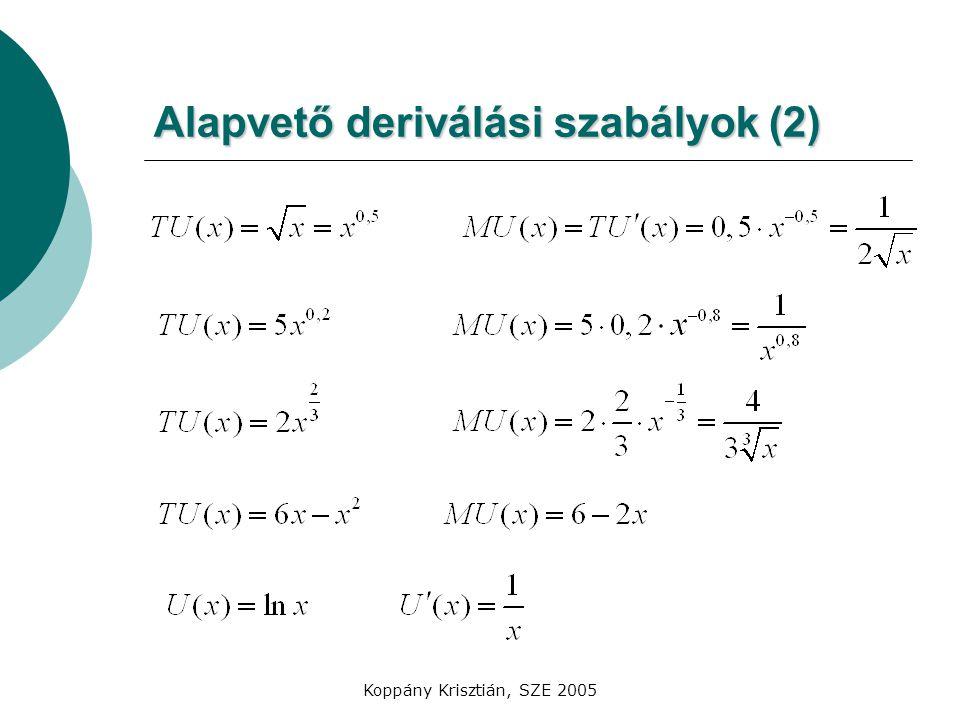 Alapvető deriválási szabályok (2)