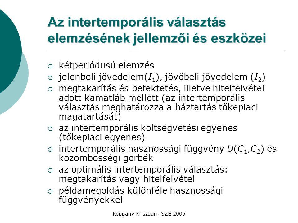 Az intertemporális választás elemzésének jellemzői és eszközei